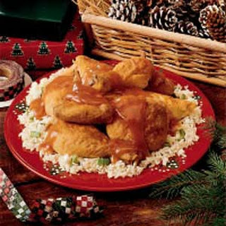 Orange-Glazed Chicken with Rice.