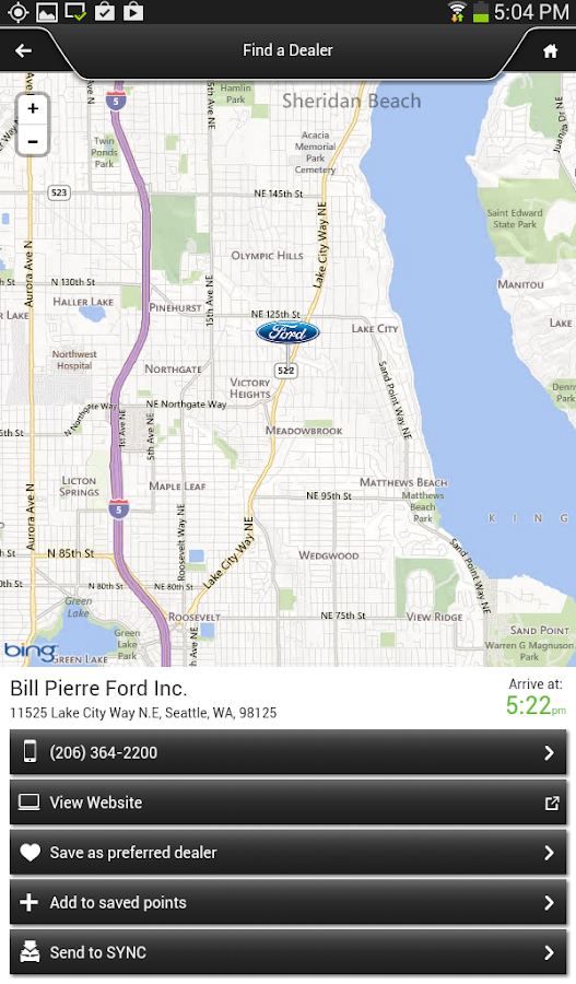 Ford SYNC® Destinations - screenshot