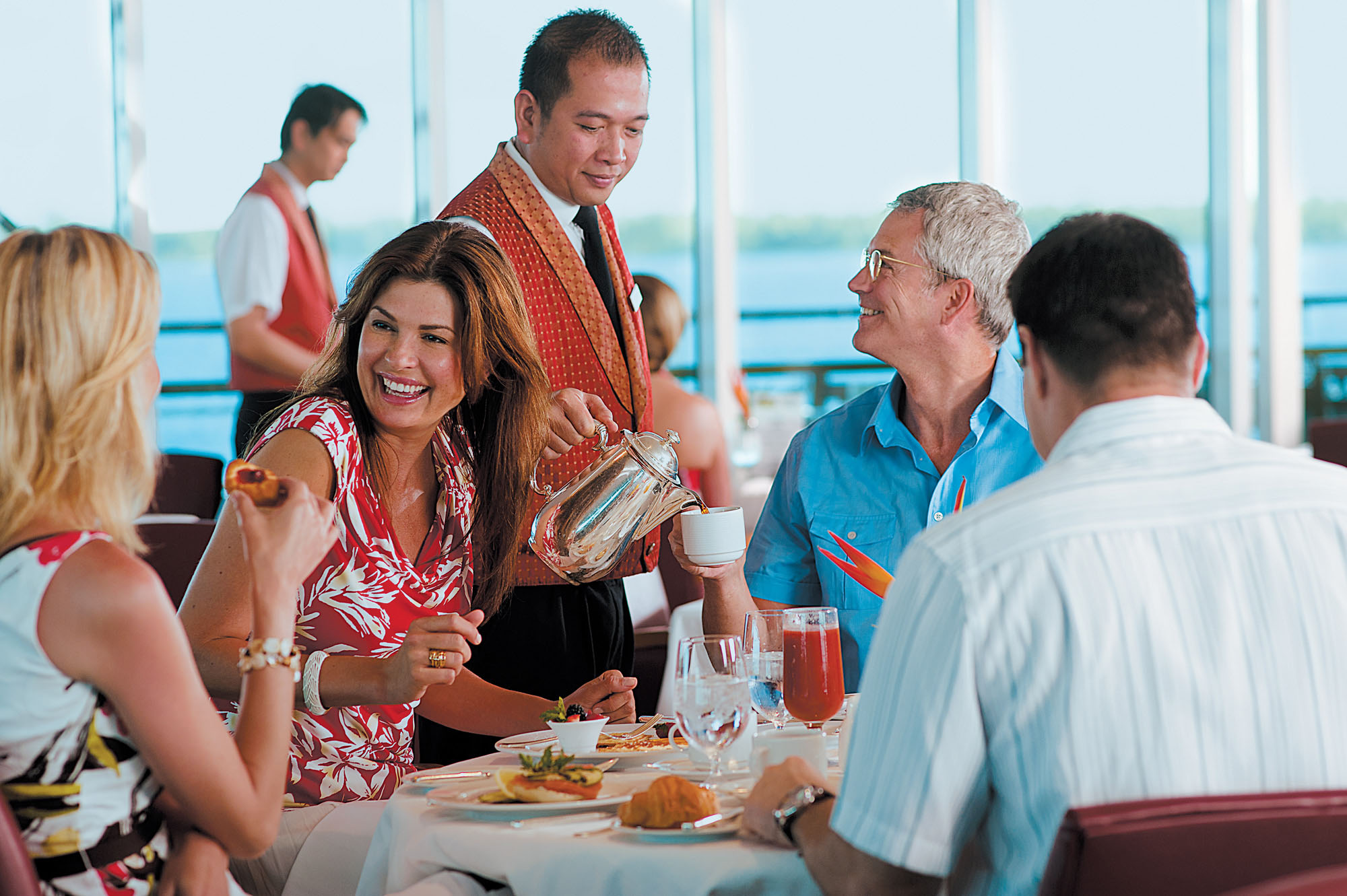 Look for attentive service during the breakfast and lunch buffet at La Veranda on the Paul Gauguin.