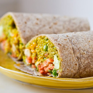 Curried Quinoa Wrap with Avo-Citrus Slaw.