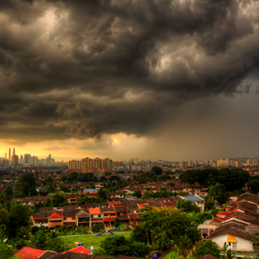 view of city in rain cloud by Hafiz Hj Ismail - Landscapes Weather ( hills, building, residential, weather, clud, storm, rain, city )