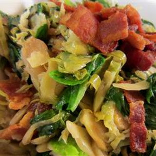 Warm Brussels Sprout, Bacon and Spinach Salad