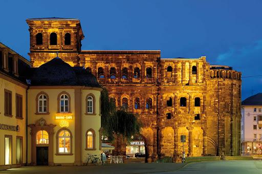 Beautiful Porta Nigra at dusk in Trier, Germany.