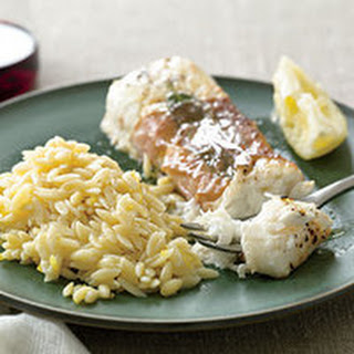 Halibut Saltimbocca with Lemon Butter Orzo.