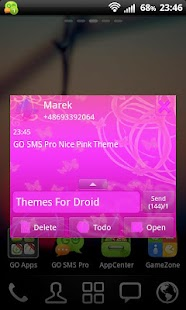 GO SMS Pro Nice Pink Theme - screenshot thumbnail