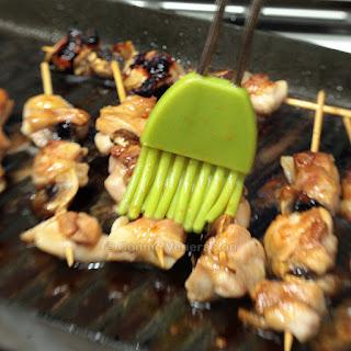 Yakitori, Japanese skewered chicken.