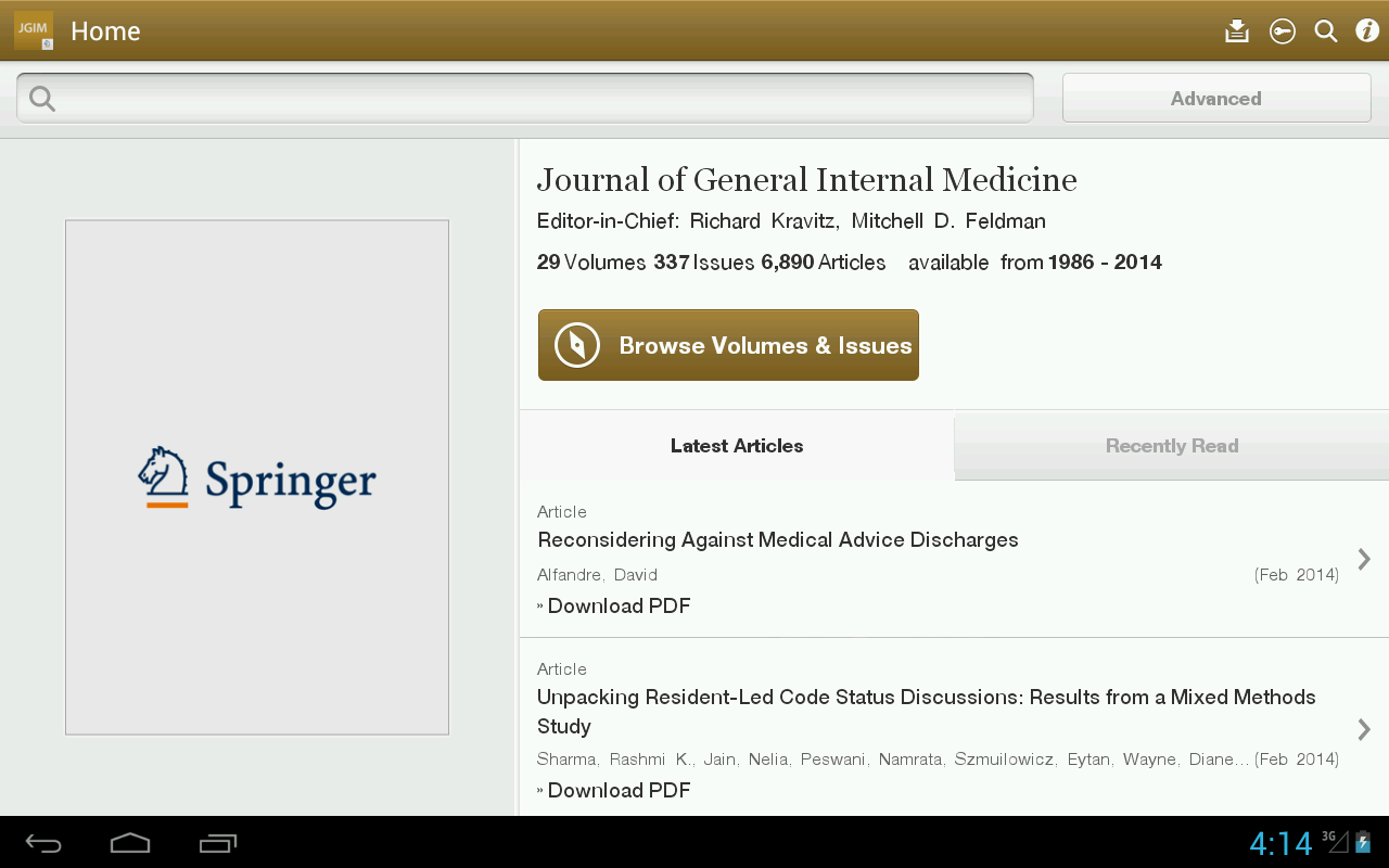 J of General Internal Medicine - screenshot
