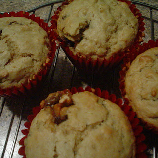 Peanut Butter and Snickers Muffins.