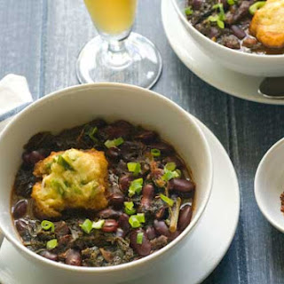 Gluten Free Cornmeal Dumplings with Red Beans and Kale.