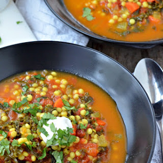 Israeli Couscous and Kale Stew.