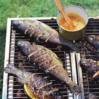 Grilled Striped Bass with Orange-Saffron Butter