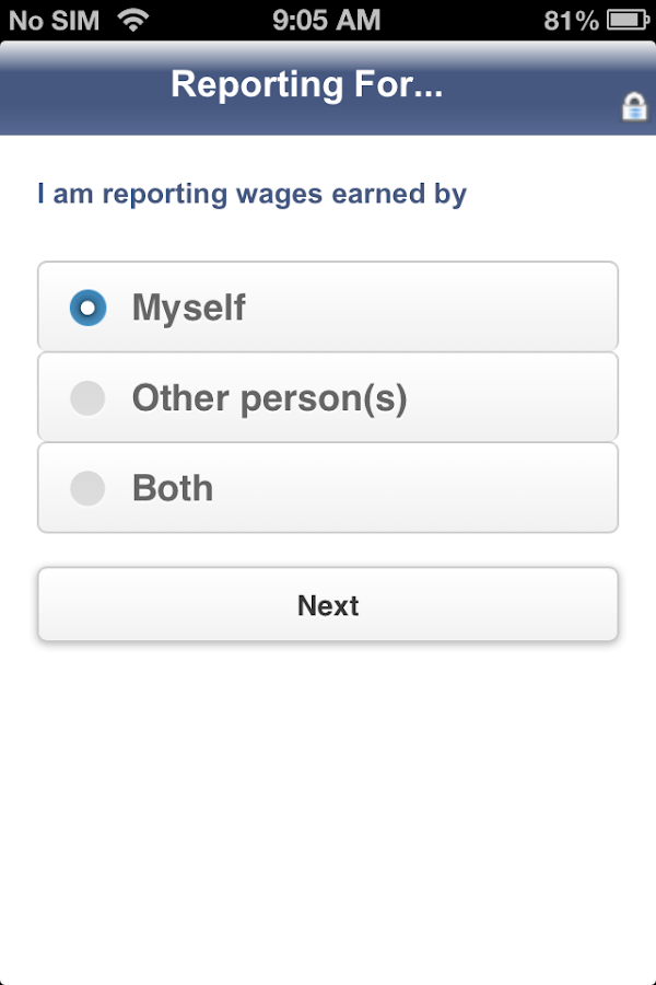 SSI Mobile Wage Reporting- screenshot