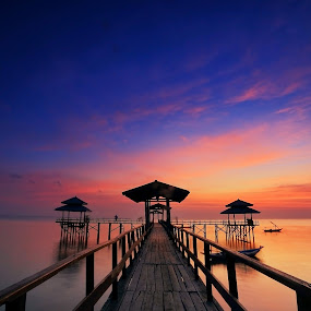 The Pier by Ina Herliana Koswara - Buildings & Architecture Bridges & Suspended Structures ( mormon, structure, sky, pier, beach, sunrise,  )