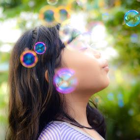 Bubble by Papin Michael - Babies & Children Children Candids ( child, girl, bubbles, evening,  )