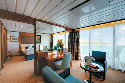 Owner's Suite 701 on the Paul Gauguin features butler service and can accommodate up to four guests. Bathroom includes a separate shower and a dressing area.