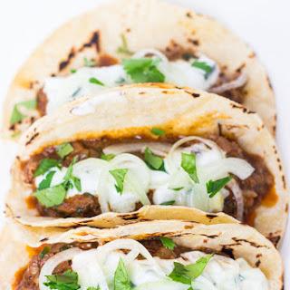 Lamb Vindaloo Tacos with Cucumber Raita.