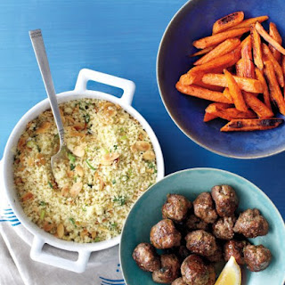 Couscous and Roasted Carrots with Spiced Meatballs.