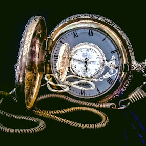 Times Past and Present  7329 by Karen Celella - Artistic Objects Other Objects ( pocket watch, time, clock, watch, zooming, technique photo, in camera, prints, object )