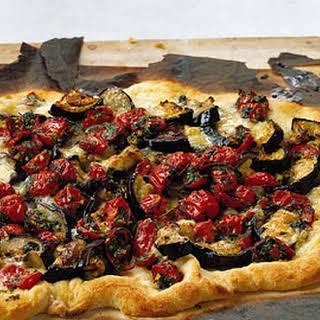 Eggplant, Tomato, and Fontina Pizza.