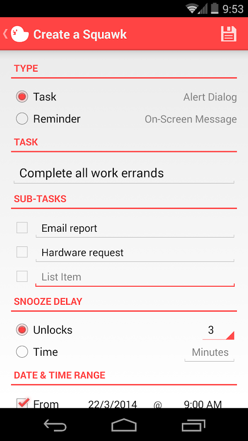 Squawk: Reminders on Unlock - screenshot