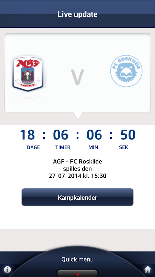 Den officielle AGF app - screenshot