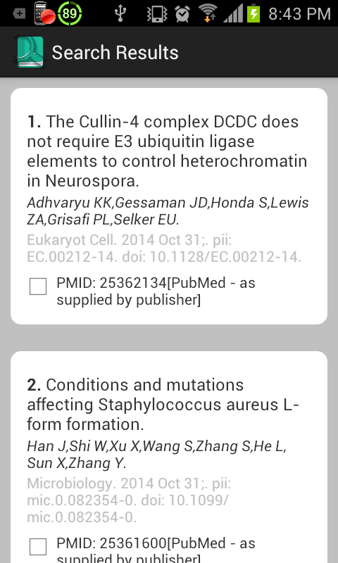 PubMed Search App- screenshot