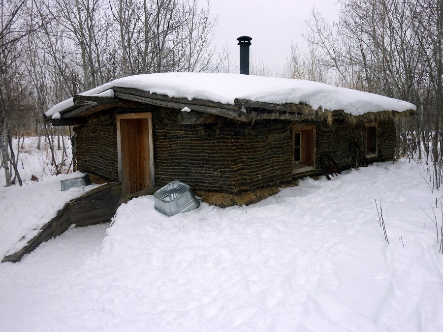 Old Sod House by Robert Hamm - Buildings & Architecture Homes ( old, canada, vintage, winnipeg, pioneer, settler, architecture, house, manitoba, sod, winter, snow, antique, design,  )