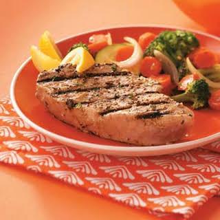 Garlic Herbed Grilled Tuna Steaks.