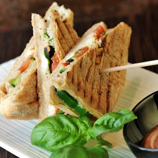 Summer Mozzarella, Tomato, and Basil Panini with Balsamic Syrup.