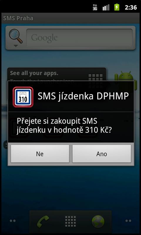 SMS jízdenka 310 Kč- screenshot