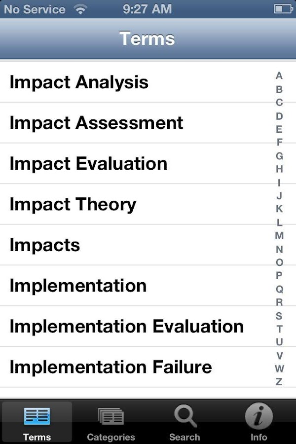 Evaluation Glossary- screenshot