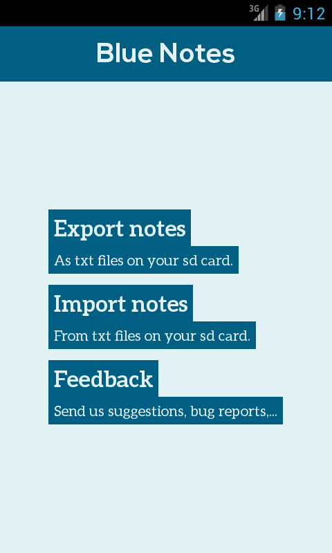 Blue Notes: Minimal Notepad- screenshot