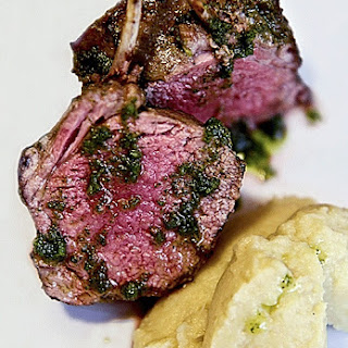 ROASTED RACK OF LAMB with fennel purée and sage pesto