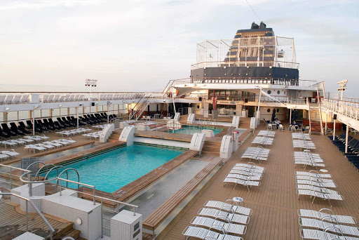 Relax and cool off in the pool on the top deck of Celebrity Century.