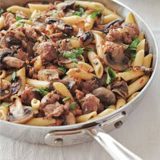 Penne with Mushrooms and Turkey Sausage.