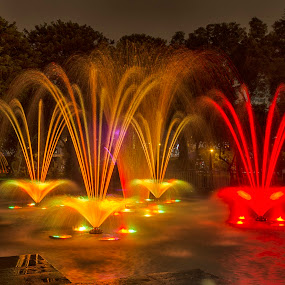 Tangüis Fountain by Maritere Izaguirre - City,  Street & Park  Fountains ( peru, park, fountains, long exposure, night, lima )