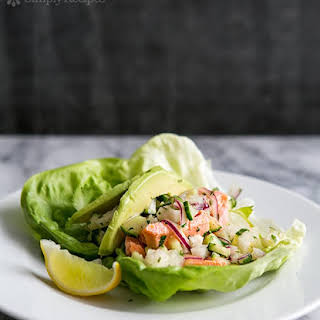 Salmon Lettuce Wraps with Cucumber, Jicama, and Ginger.