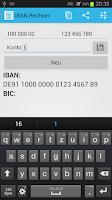 Screenshot of IBAN Rechner