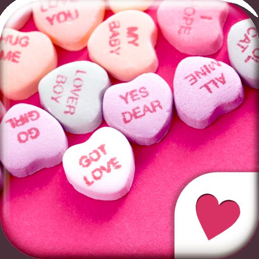 可爱的换肤壁纸★Candy Hearts 個人化 App LOGO-硬是要APP
