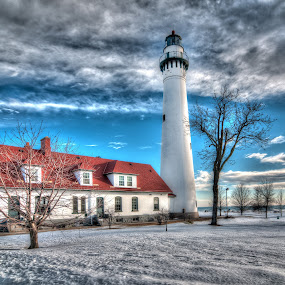 Wind Point Lighthouse - Wide Southwest View by Jebark Fineartphotography - Buildings & Architecture Public & Historical