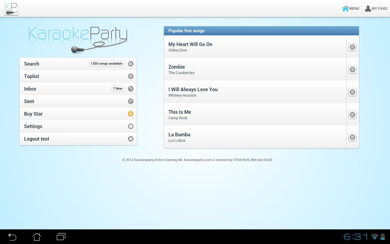 Karaokeparty.com- screenshot