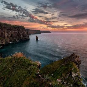 Aillte an Mhothair by Grzegorz Kaczmarek - Landscapes Sunsets & Sunrises ( moher, ireland, greg77, ciffs, sunset, greg77.net, seascape, landscape )
