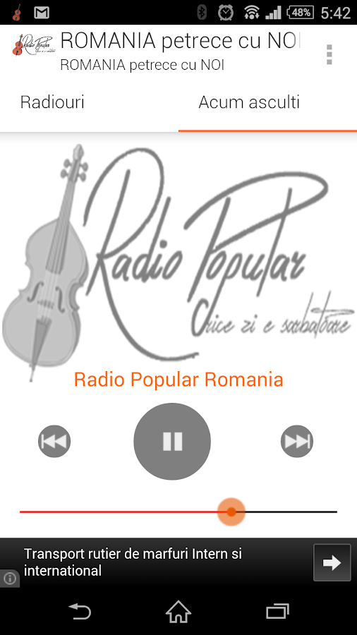 Radio Popular Romania– captură de ecran