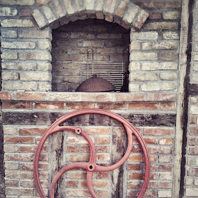 Iron Cast Wheel by the Brick Charcoal Grill by Nat Bolfan-Stosic - Buildings & Architecture Other Exteriors ( wheel, well )