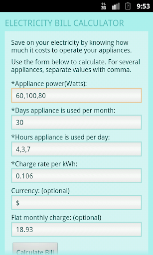 Electricity Bill Calculator