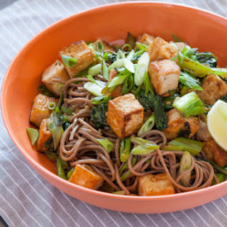 Tofu & Chinese Broccoli with Soba Noodles.