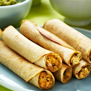 Baked Chicken and Spinach Flautas.