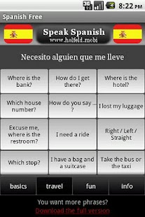 Speak Spanish Free- screenshot thumbnail