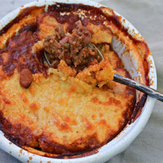 Beef Tamale Pie With Cornmeal Crust.