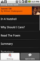 Screenshot of Shmoop: Sonnet 130